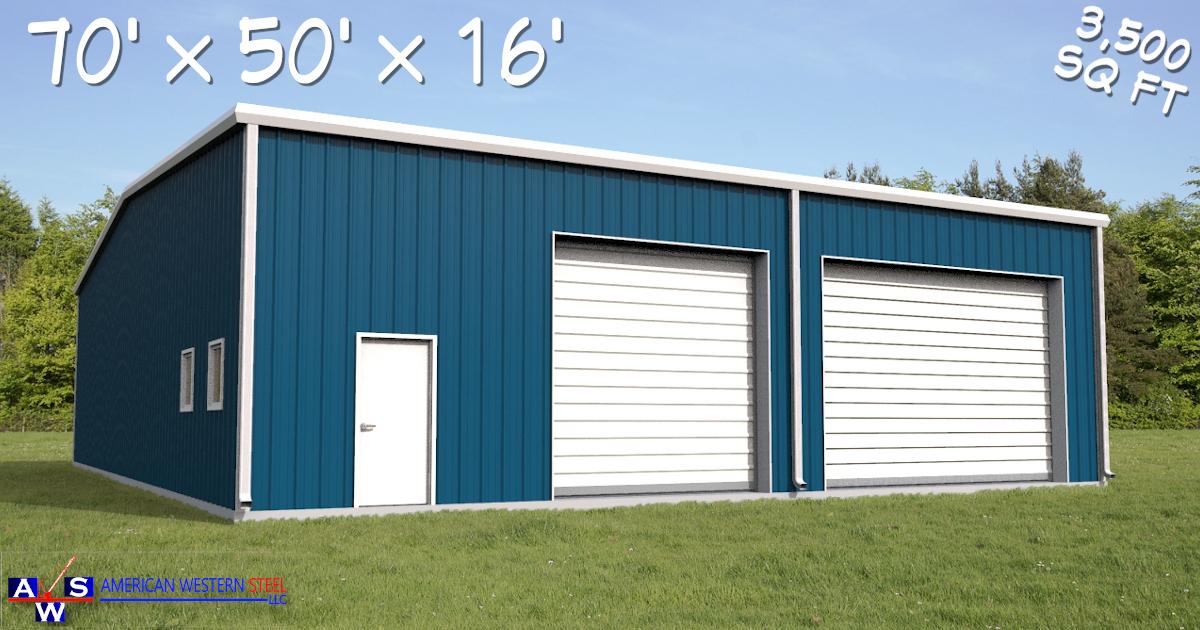 70x50x16 Metal Building Kit